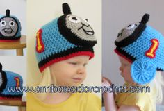 crochet train hat - thomas the train crochet hat pattern'