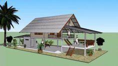 บ้านหลังคาจั่ว หลังเล็ก ( No. 003 ) Sketchup by : i. Bamboo House Design, Tropical House Design, Small House Design, Tropical Houses, Hut House, Tiny House Cabin, House On Stilts, Hawaii Homes, Barn House Plans