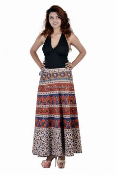 Indian Girl Rajasthani Print Wrap Around Skirt with Matching Beachwear Top Tank Indian Skirt, Wrap Around Skirt, Long Skirts For Women, Indian Bollywood, Cotton Skirt, Dress Skirt, Maxi Skirts, Indian Girls, Traditional Outfits