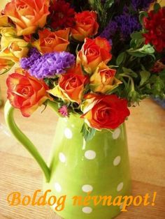 pretty pretty travel mug Orange and yellow tea roses in a lime green polka dot pitcher - so colorful! arrangement Bbb Green and whit. Beautiful Flower Arrangements, My Flower, Fresh Flowers, Floral Arrangements, Beautiful Flowers, Arte Floral, Tea Roses, Belle Photo, Garden Projects