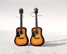Guitar earrings - Music guitar dangle earrings- decoupage resin earrings - orange black earrings - funny earrings -music earrings funny. $22.00, via Etsy.