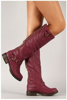 Breckelle Trooper-14 Studded Buckle Riding Knee High Combat Boot Berry
