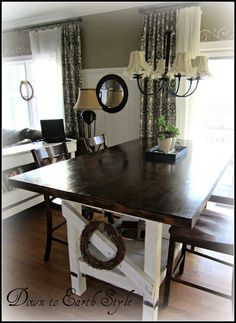 Dark Stained Top and White Chalk Painted Bottom.  Do this to my table!  Keep chairs dark stained.