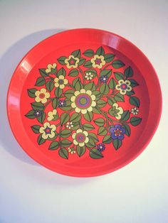 Mid Century Vintage Red Enamel Metal Serving Worcester Ware Tray with Floral Design.. Made in Great Britain.
