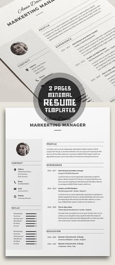 Free Minimalistic CV\/Resume Templates with Cover Letter Template - elegant resume templates
