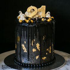 "Sydney Cakes, Baked by Fiona 6""  21st birthday cake with 4 layers of cake. #birthdaycake #blackcake"