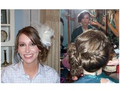 This is my best friend on her wedding day - I want the same hair, just with a different hair piece.  Can't match her EXACTLY :)