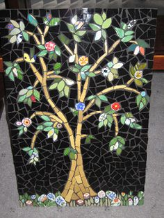 Mosaic wall panel for Kate.  Ceramic tiles and china.