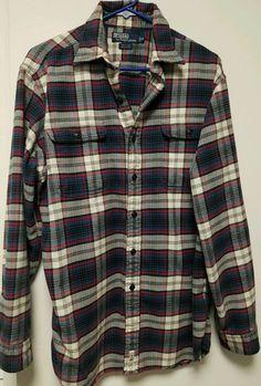 6796dbc6cb11 Polo By Ralph Lauren Matlock Mens Button Front Long Sleeve Soft Flannel  Shirt M  RalphLauren