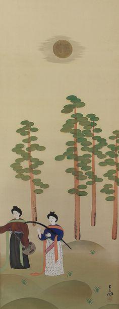 Musicians under the Moon. Japanese hanging scroll painting kakejiku