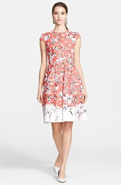 Oscar+de+la+Renta+Print+Stretch+Cotton+Canvas+Dress+available+at+#Nordstrom