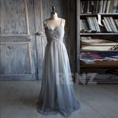 Bridesmaid chiffon Dress/sleeveless  handmade gray dress/floor length/ Prom/ party dress ( B085) by RenzRags on Etsy
