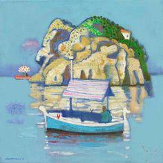 Leon Morrocco - Passing the Rock, Panarea, oil on canvas, 60 x The Rock, Morocco, Oil On Canvas, Paintings, Illustrations, Island, American, Artist, Image