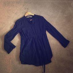 Zara navy cotton shirt with drawstring waist Zara loose maternity shirt. Adjustable waist. Pure cotton Zara Tops Button Down Shirts