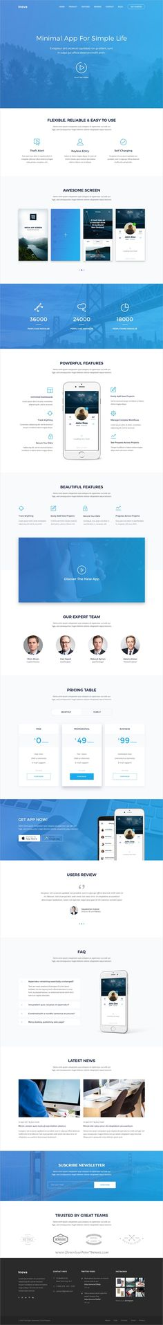 Inova is a PSD template for a wide variety of landing pages such as Product, SaaS, App, Startup, Marketing Landing Pages. It comes with 08 Fully Layered PSDs and tons of features that will c. Landing Page Inspiration, Web Design Inspiration, Design Ideas, Web Layout, Layout Design, Mobile Landing Page, Macbook, Information Architecture, Web Design Projects