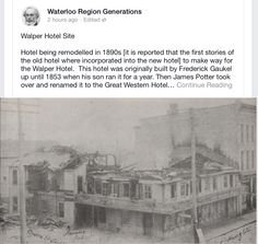Walper hotel in downtown Kitchener. Waterloo Ontario, Kitchener Ontario, Hotel Sites, Local History, Twin Cities, Abandoned, The Neighbourhood, Coloring, Old Things