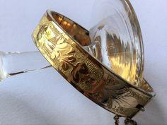 Late Victorian gold engraved bracelet, victorian jewels, antique jewels, antique bracelet di Quieora su Etsy