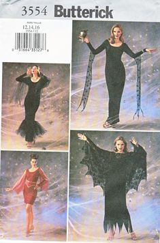 Butterick+Sewing+Pattern+3554+Misses+Size+6-8-10+Gothic+Goth+Witch+Gown+Dress+Costume