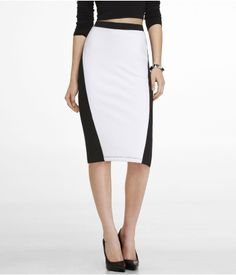 COLOR BLOCK STRETCH COTTON PENCIL SKIRT | Express