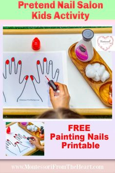 Nail Salon Kids Activity Free Nails Printable | Montessori From The Heart, Pretend nail salon is a fun and easy to set up kids activity with a free printable to practice applying nail polish while advancing fine motor control. #diykids #finemotoractivities #kidsactivities #preschool #preschoolactivities #kidscrafts #kindergarten #pretendplay #kidsplay #invitationtoplay #diykidscrafts Montessori Activities, Kindergarten Activities, Preschool Activities, Kids Printable Activities, Free Printables, Fine Motor Activities For Kids, Toddler Activities, Kids Learning, Nails For Kids