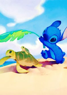 Stitch covering Mother Sea Turtle with her Baby Sea Turtle from the Sun Art.