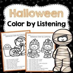 halloween color by listening a following directions activity - Halloween Following Directions