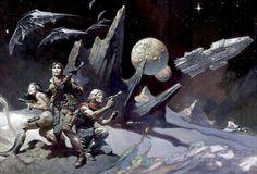 Frank Frazetta - Battlestar Galactica Concept Arte Sci Fi, Sci Fi Art, Frank Frazetta, King Kong, Concept Ships, Concept Art, Tarzan, Robert E Howard, Art Science Fiction