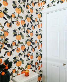 home wallpaper Orange Blossom wallpaper - mintpeony - Spoonflower Bedroom Orange, Orange Walls, Orange Nursery, Orange Wallpaper, Bathroom Wallpaper Orange, Wallpaper For Walls, Wallpaper Backsplash Kitchen, Accent Wallpaper, Home Wallpaper