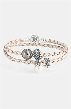 PANDORA Leather Wrap Charm Bracelet | Nordstrom