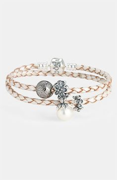 LOVE THIsS!! For each anniversary/bday/Christmas/gift time or MEMORY, a bead would be awesome, such a small little memory and easy for guys to get. PANDORA Leather Wrap Charm Bracelet | Nordstrom