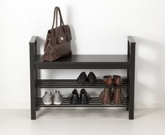 Hemnes Bench With Shoe Storage, Black-brown