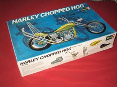 Aurora Model H1237 Harley Chopped Hog  FOR PARTS OR PROJECT Partially Assembled #Aurora Plastic Model Kits, Plastic Models, Hobby Kits, Box Art, Aurora, Hobbies, Motorcycle, Toys, Projects