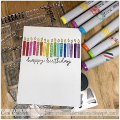 Happy Birthday Cards Handmade, Homemade Birthday Cards, Birthday Cards For Men, Greeting Cards Handmade, Cool Cards, Diy Cards, Watercolor Birthday Cards, Hand Lettering For Beginners, Birthday Postcards