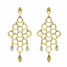 """Labradorite Chandelier Earrings in 18k Gold Vermeil The Black Bow. $373.00. Six labradorite briolettes, 8.5 carats. Average weight 15.18 grams. Measures 3 3/8"""" long x 1 1/2"""" wide. Crafted from 18k gold vermeil"""