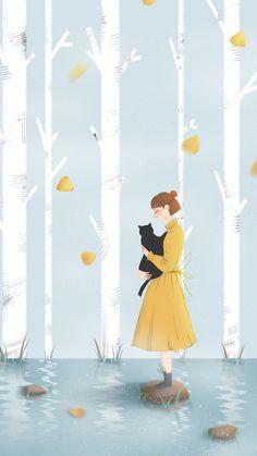 My favorite person isn't even a person 🐾 Kawaii Wallpaper, Cute Wallpaper Backgrounds, Cute Wallpapers, Kawaii Drawings, Cute Drawings, Yellow Art, Cat Art, Painting & Drawing, Anime Art