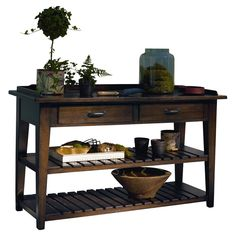 Dover Console Table in Distressed Molasses Wood console table with a power outlet and 2 drop-front electronics compartments. Log Cabin Furniture, Living Room Furniture, Funky Furniture, Wooden Furniture, Custom Furniture, Furniture Decor, Furniture Design, Living Room Update, My Living Room