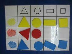Blocs logiques Enseñando a aprender. Aprendiendo a enseñar: Tableros de doble entrada con bloques lógicos: Montessori Materials, Montessori Activities, Kindergarten Math, Toddler Activities, Learning Activities, Preschool Activities, Kids Learning, Learning Shapes, Autism Education