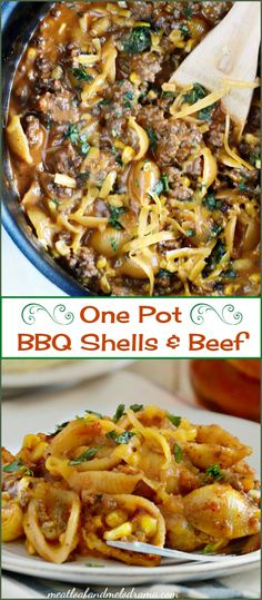One Pot Cheddar BBQ Shells and Beef - An easy dinner made with ground beef, pasta, cheese and barbecue sauce, plus a few other ingredients that takes only 30 minutes to make!