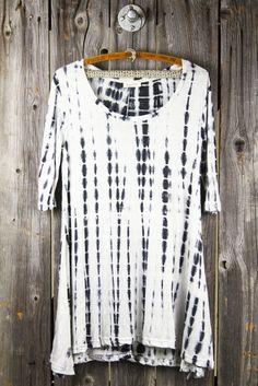 Knit Tie-Dye 3/4 Sleeve Swing Tunic