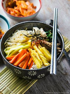 Simple recipe for Korean Vegetarian Mixed Rice Bowl Bibimbap. Fried egg instead of scrambled, and use thai eggplant marinade for baked tofu