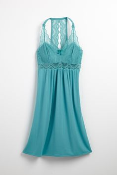 Scallop Lace Sleep Chemise in Paradise Teal