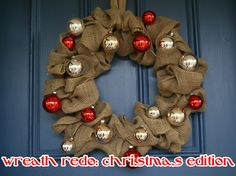 burlap and christmas ornaments!