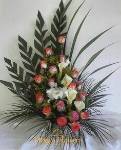 No photo description available. Contemporary Flower Arrangements, Tropical Flower Arrangements, Funeral Flower Arrangements, Beautiful Flower Arrangements, Silk Flower Arrangements, Beautiful Flowers, Altar Flowers, Window Box Flowers, Church Flowers