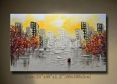 A new type of Abstract Wall Painting,contemporary wall art,Impasto cityscape Landscape Painting,Palette Knife Painting on Canvas by Chen Texture Painting On Canvas, Palette Knife Painting, Canvas Art, Contemporary Wall Art, Landscape Paintings, Art Paintings, Bunt, Abstract Art, Art Pictures