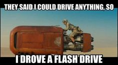 Brand new Star Wars trailer sparks social media frenzy In several funny memes is the bulky racing driver of the new main character Rey (Daisy Ridley) to see … Star Wars Meme, Star Wars Quotes, Star Trek, Funny Memes, Hilarious, It's Funny, Funny Quotes, Star Wars Wallpaper, Daisy Ridley