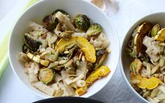 This rich, garlic sauce is paired perfectly with brussels sprouts and delicata squash cooked in herbs until crispy and caramelized. Vegan Lunch Recipes, Delicious Vegan Recipes, Vegan Dinners, Healthy Recipes, Vegan Food, Vegan Main Dishes, Eat To Live, Plant Based Eating, Healthy Food Choices