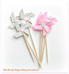 Set of 12 Pink & Grey Pinwheel Party Picks, Food picks, Cupcake Toppers £4.00