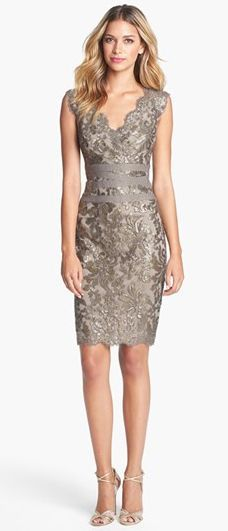 Embellished Metallic Lace Sheath Dress -