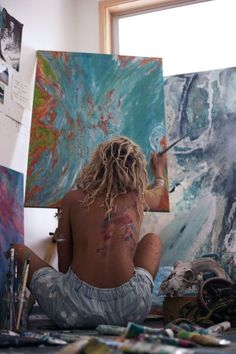 working in studio Art painting paintwork colors denim jeans summer spring style fashion bun hairstyle paint fun messy bun