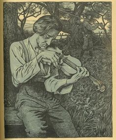 Hans Thoma ~ Der Geiger (The Fiddler), 1895 (three-color lithograph) Piano Y Violin, Violin Art, Thomas Carlyle, Hans Holbein, Caspar David Friedrich, Hans Thoma, Carl Spitzweg, Expressionist Artists, Music Pictures